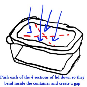 Step 2: push the sections of the lid down to create a gap