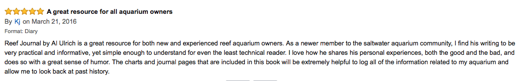5 star review for reef journal: book 2 of the reef aquarium series