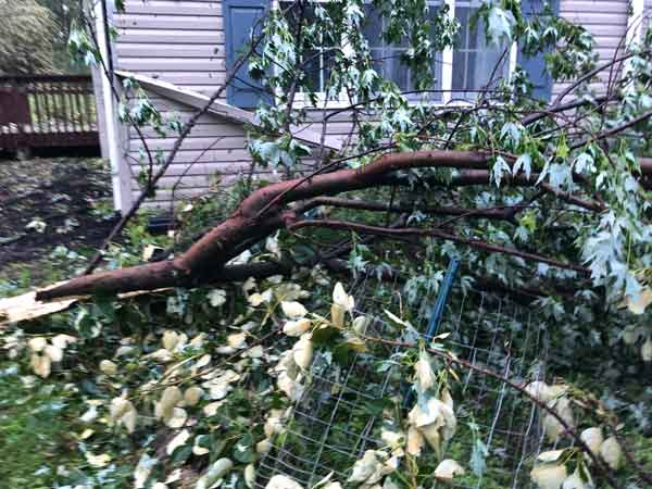 Recent damage from a severe storm resulting in loss of power