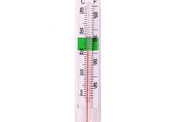 Thermometer noting typical range